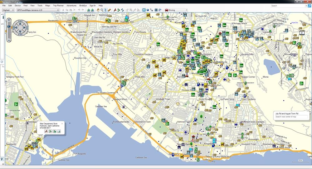 Jamaica GPS Map for Garmin   GPSTravelMaps.com